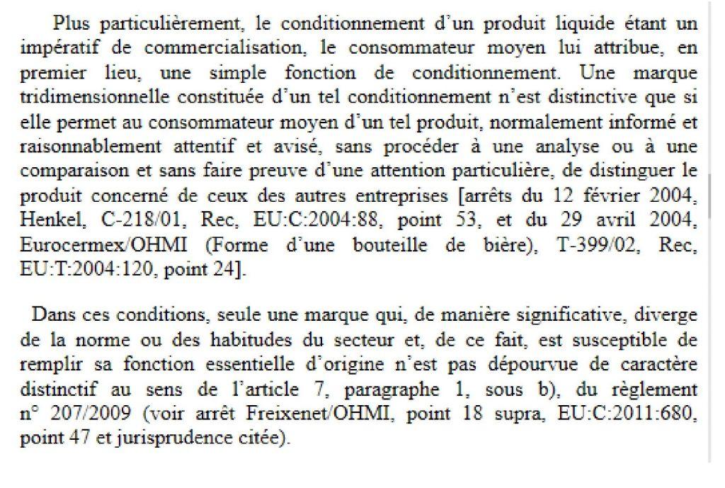 marque tridimensionnelle cjue bouteille validité possible déposer enregistrer inpi